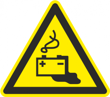 Warnschild Batterie aufladen
