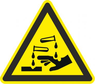 Warnzeichen ätzende Stoffe