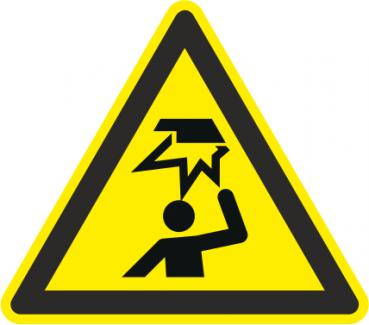 Warnaufkleber Hindernisse im Kopfbereich