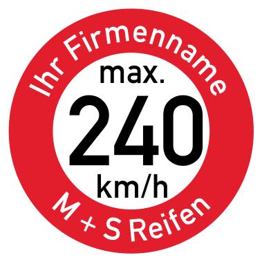 Geschwindigkeitsaufkleber 240 Kmh